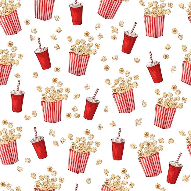 Patroon op het snacks thema: popcorn. Premium Vector