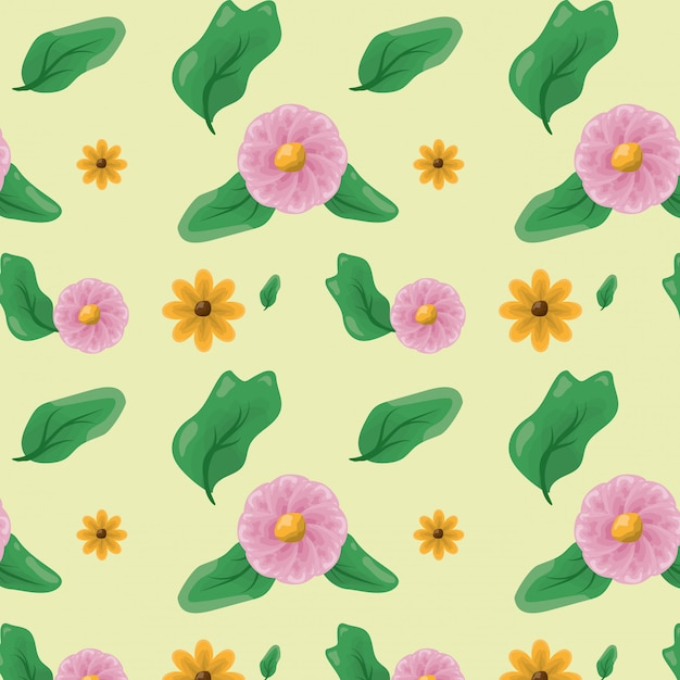 Patroon van bloemen en groene bladeren, aardconcept Gratis Vector
