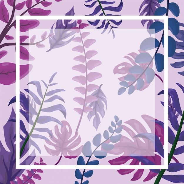 Patroon van fucsia tropische bladeren met frame Gratis Vector