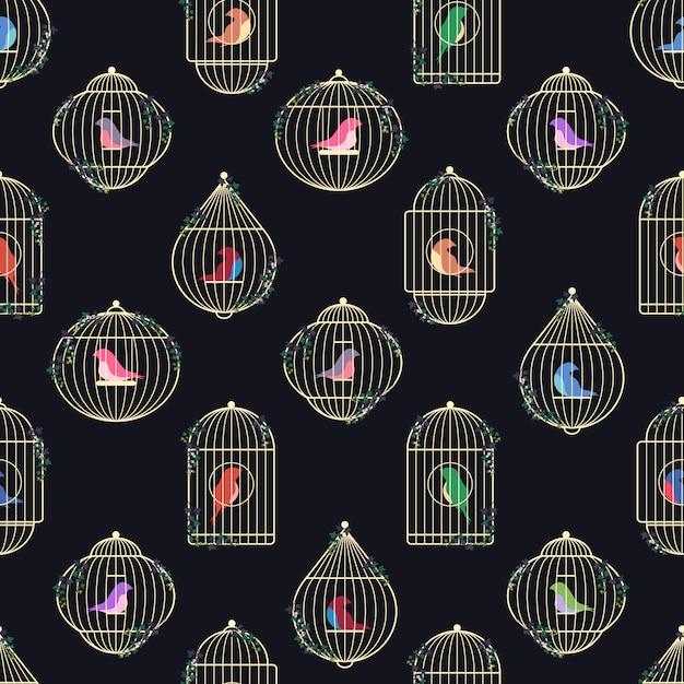 Patroon van gouden vogelkooien. Premium Vector