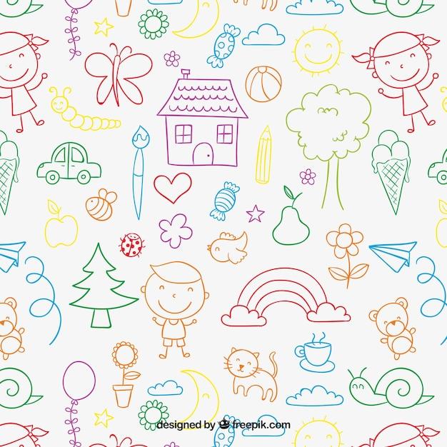 Patroon van kinderen in kleurrijke stijl Gratis Vector