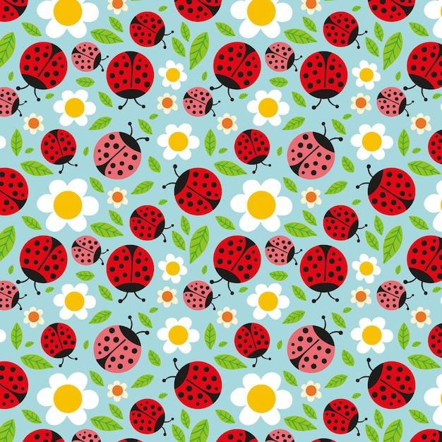 Patroon voor de lente met lieveheersbeestjes en bloemen Gratis Vector