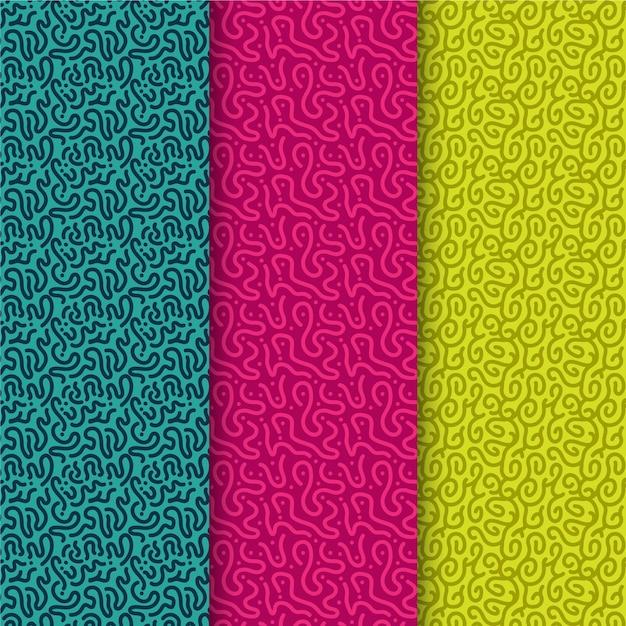 Patrooncollectie met afgeronde lijnen Gratis Vector