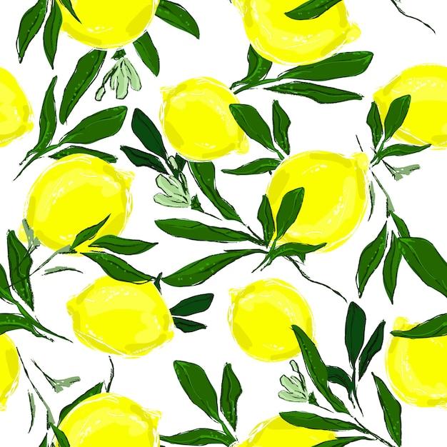 Patroonprint met handgetekende citroenen en bladeren. Premium Vector