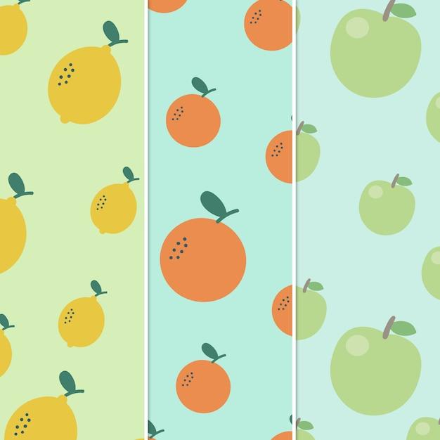 Patroonvruchten sinaasappel en citroen en appel Premium Vector