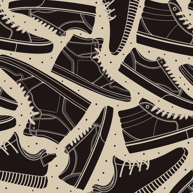 Pattern schoenen sneakers classic Premium Vector