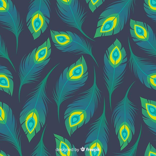 Pauwenveer patroon collectie met platte ontwerp Gratis Vector