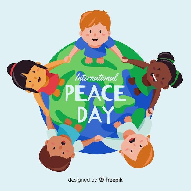 Peace day background kinderen hand in hand over de hele wereld Gratis Vector