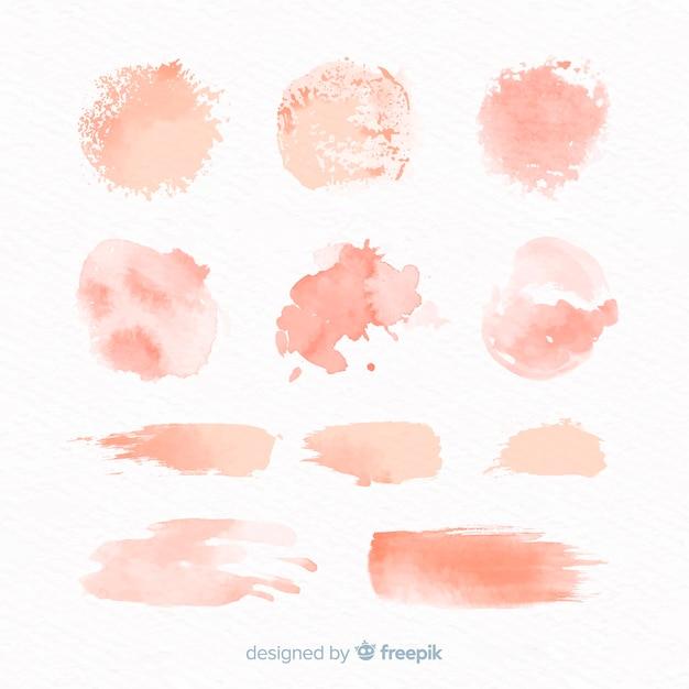 Peach aquarel splash collectie Gratis Vector