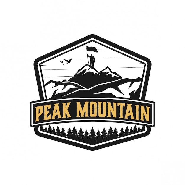 Peakmountain logo ontwerp Premium Vector
