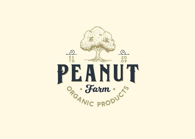 Peanut farm shop logo illustratie bomen moer Premium Vector