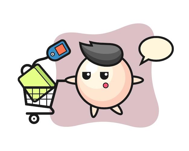 Pearl illustratie cartoon met een winkelwagentje Premium Vector