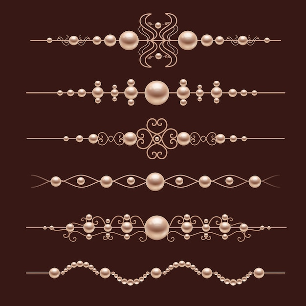 Pearl realistische verdelers decoratives Gratis Vector