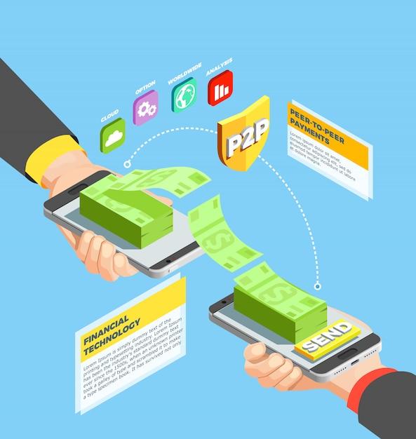 Peer to peer payments-ontwerpconcept Gratis Vector
