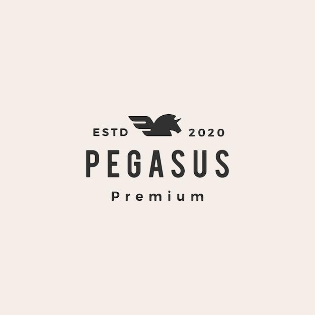 Pegasus eenhoorn vleugel hipster vintage logo pictogram illustratie Premium Vector