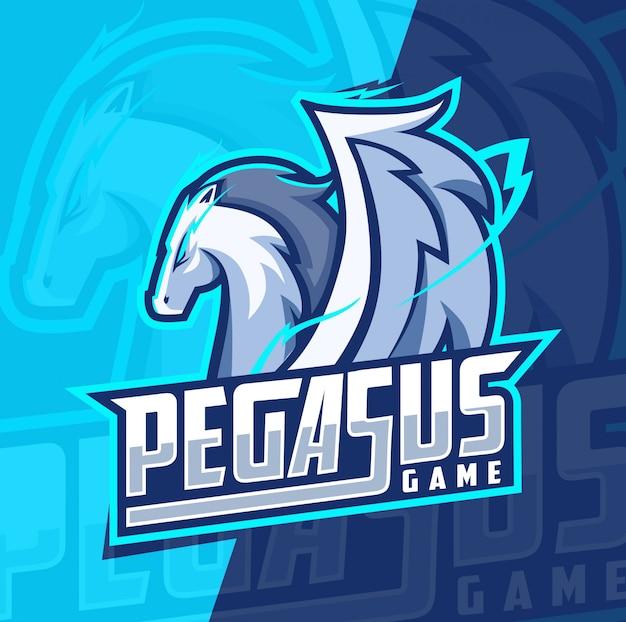Pegasus mascotte esport logo ontwerp Premium Vector