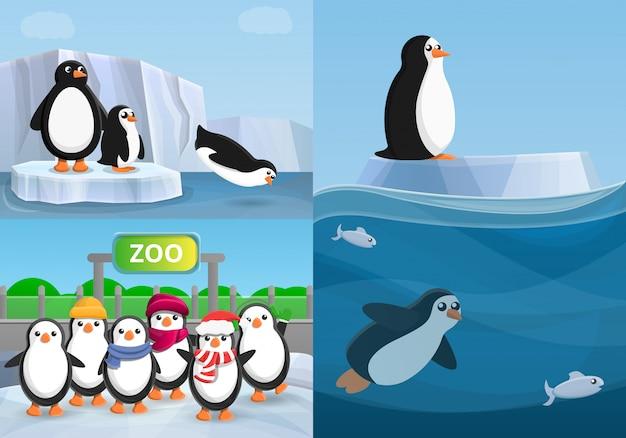 Penguin banner set, cartoon stijl Premium Vector