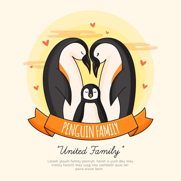 Penguin familie Gratis Vector