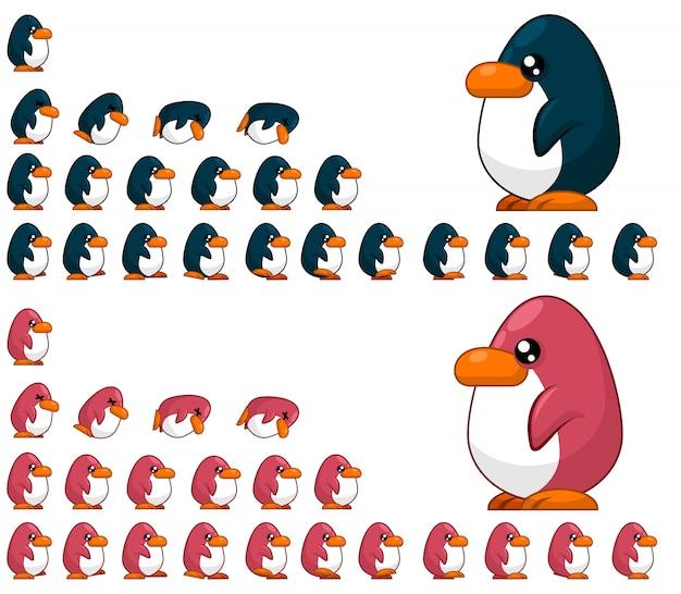 Penguin game sprites Premium Vector