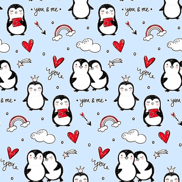 Penguin naadloze patroon. grappige dieren achtergrond. cartoon hand getekend textuur met schattige karakters. doodle stijl. Premium Vector