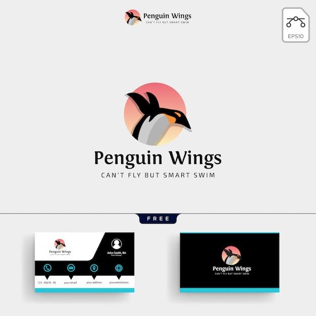Penguins logo sjabloon en visitekaartje Premium Vector