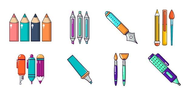 Pennen pictogramserie. beeldverhaalreeks pennen vectorpictogrammen geplaatst geïsoleerd Premium Vector
