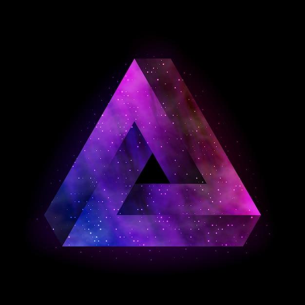 Penrose onmogelijke driehoek met binnenruimte. Premium Vector