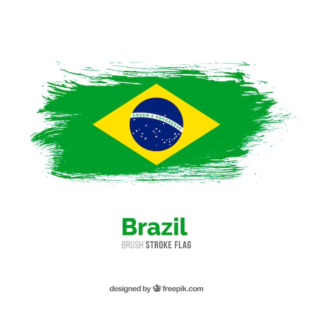 Penseelstreek vlag van brazilië Gratis Vector