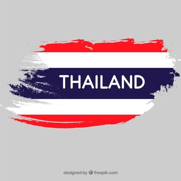 Penseelstreek vlag van thailand Gratis Vector