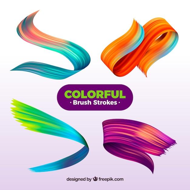Penseelstreken collectie met veel kleuren Gratis Vector