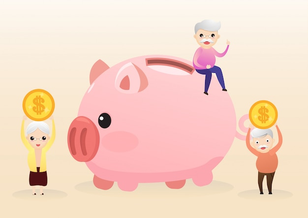 Pensioen concept. oude man en vrouw met gouden spaarvarken. het dragen van pensioensparen roze piggy. geld besparen voor de toekomst. vector, illustratie. Premium Vector