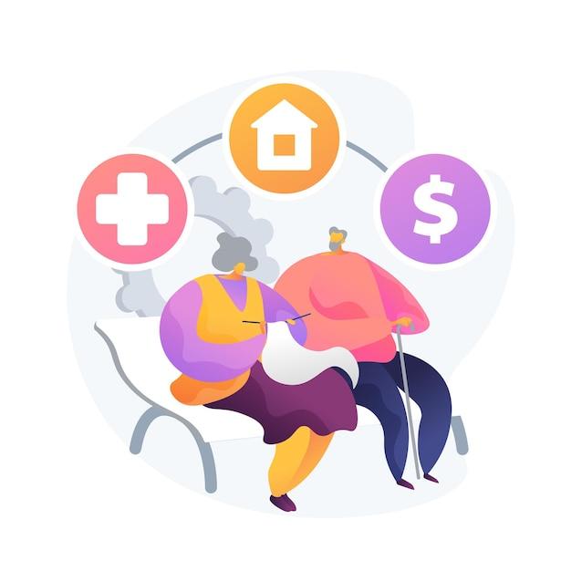 Pensioen- en vermogensbeheer. ziektekostenverzekering, woonplaatskeuze, financiële voordelen. bejaarde echtpaar, spaarplan voor oudere volwassenen. vector geïsoleerde concept metafoor illustratie Gratis Vector