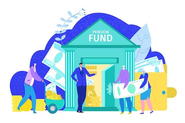 Pensioenfonds concept, pensioen financiële investering in bank en plan verzekering sociale zekerheid, op witte illustratie. bejaarden gepensioneerden krijgen pensioen en sparen toekomstig geld. Premium Vector