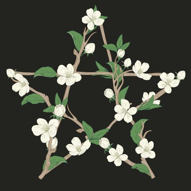 Pentagramteken met takken van een bloeiende boom wordt gemaakt die. hand getekend botanische witte bloesem op zwarte achtergrond. vector illustratie. Premium Vector