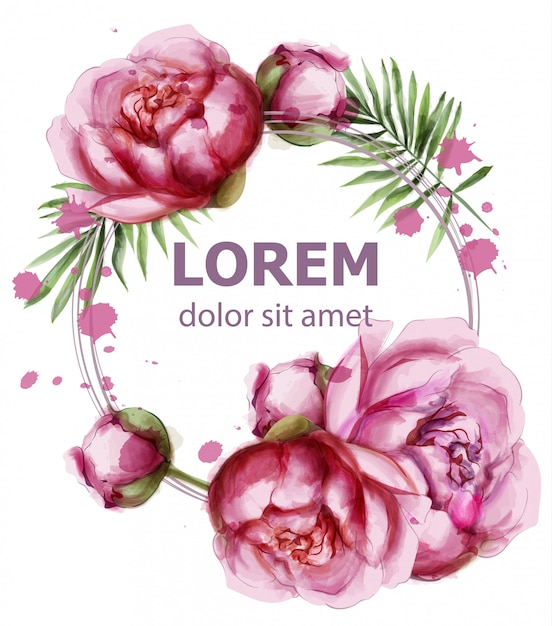 Peony bloemen delicate krans Premium Vector