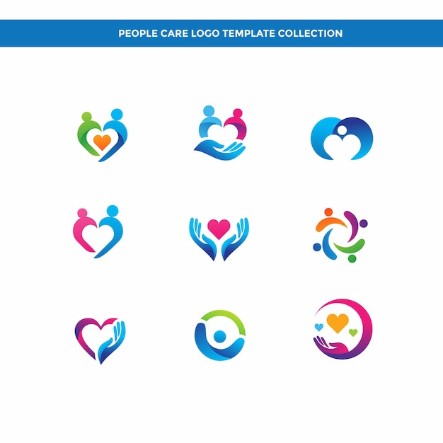 People care logo template collection Premium Vector