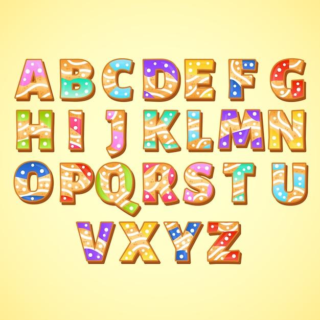 Peperkoek kerst alfabet pack Gratis Vector