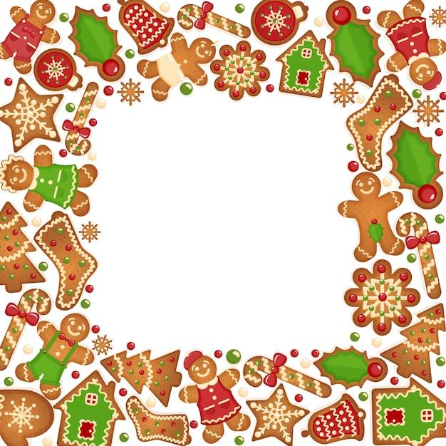 Peperkoek koekjes frame. voedsel dessert decoratie kerst, zoete gember en koekje Gratis Vector
