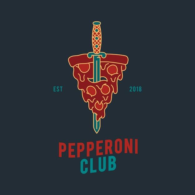 Pepperoni pizza ontwerp vector Gratis Vector