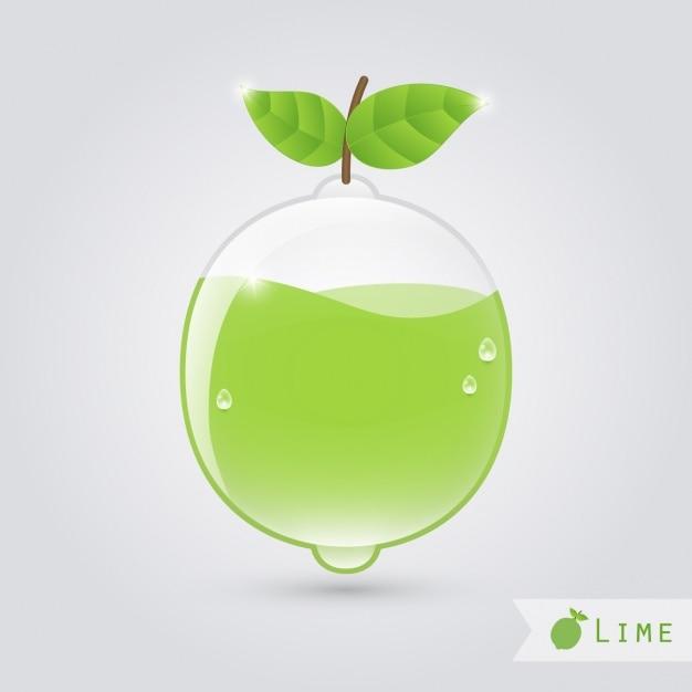 Pera de cristal con zumo de pera dentro Gratis Vector