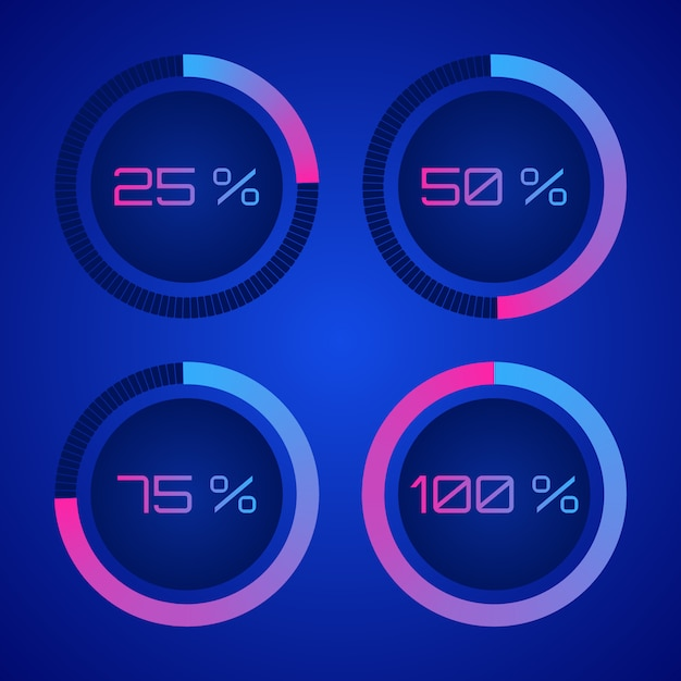 Percentagediagrammen digitaal aftellingscirkelbord Premium Vector