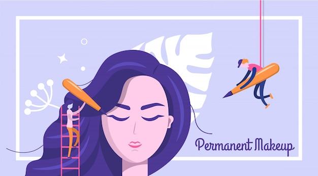 Permanente make-up banner achtergrond Premium Vector