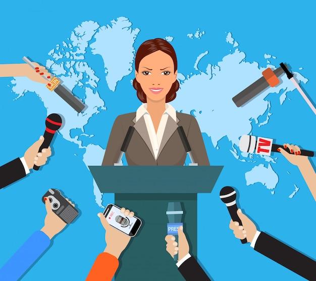Persconferentie, live wereldnieuws, interview Premium Vector