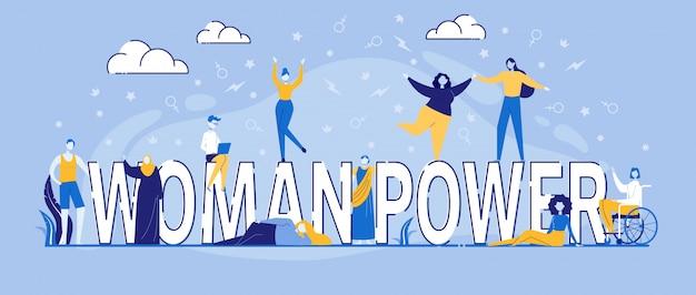Personages dansen rond woman power typography Premium Vector
