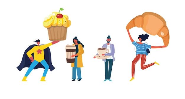 Personages die koffie drinken en zoete voedsel geïsoleerde vastgestelde inzameling eten. vector plat grafisch ontwerp illustratie Premium Vector
