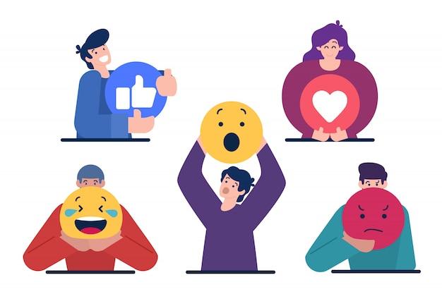 Personages houden emoticon teken Premium Vector