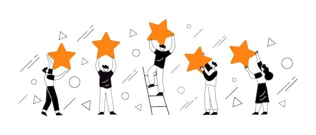 Personages met sterren. klantbeoordelingen concept illustratie concept Premium Vector