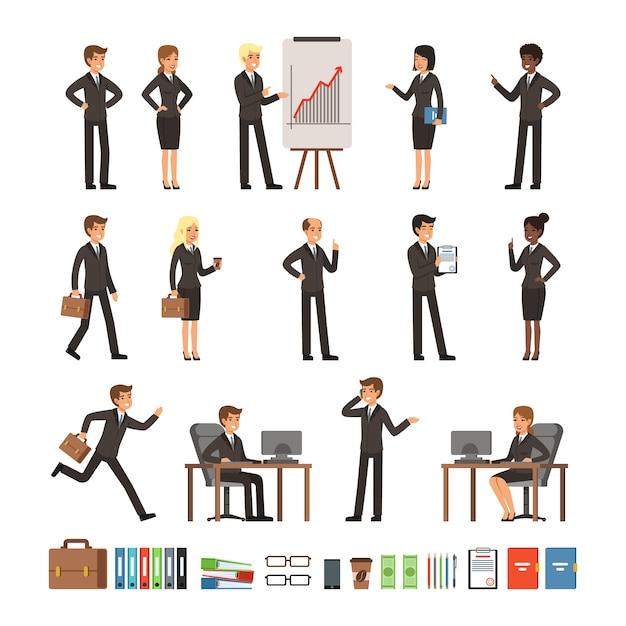 Personages ontwerpset zakenmensen man en vrouw, directeuren van kantoorpersoneel, professionele teams. m Premium Vector