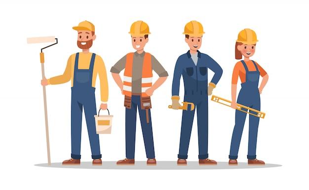 Personages uit het bouwpersoneel. inclusief voorman, schilder, elektricien, tuinarchitect, timmerman. Premium Vector