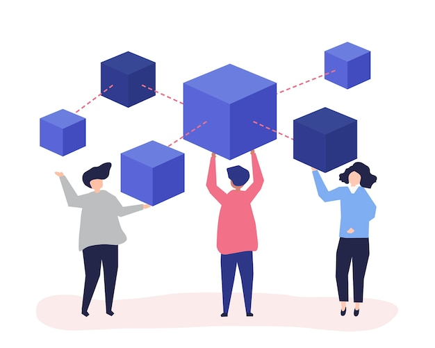 Personages van mensen die een blockchain-netwerk hebben Gratis Vector